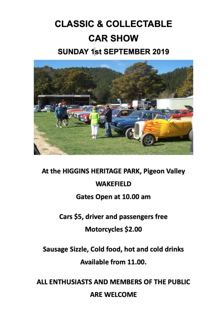 Classic and Collectable Car Show Sunday 1st September 2019